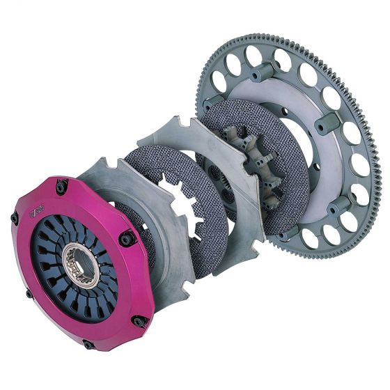 Exedy Carbon-R Twin Clutch Kit, 200mm Unsprung Carbon Plate – 200mm Unsprung Carbon Plate, Up to 500lbs Torque – Bearing Not Included