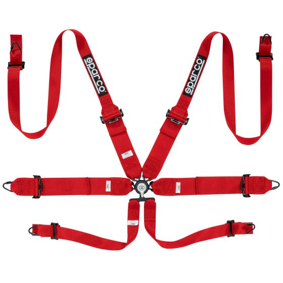 Sparco Pro Racer 6 Point (Steel) FHR Harness, Red