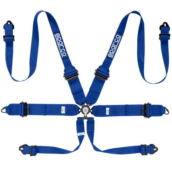 Sparco Pro Racer 6 Point (Alloy) FHR Harness, Blue