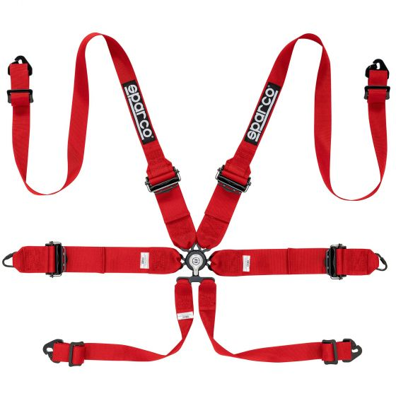 Sparco Pro Racer 6 Point (Alloy) FHR Harness, Red