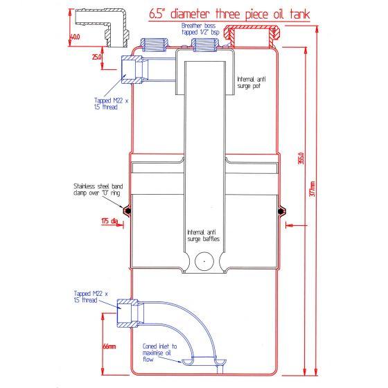 "Mocal Dry Sump Tanks – 6.5"" dia.x 16"" – 5Ltr Capacity"