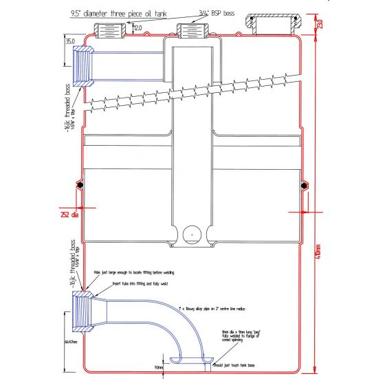 """Mocal Dry Sump Tanks – Outlet: M22x1.5 two Inlets 3/4"""" push-on breathers. 8.25"""" dia x 16.5"""" – 14.4 Capacity"""