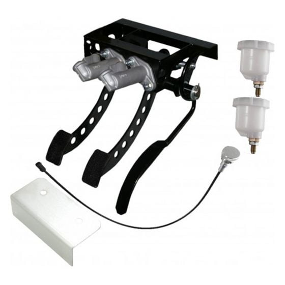 OBP Victory Range Universal Top Mounted 3 Pedal Box Assembly – Cable Clutch Silver Kit