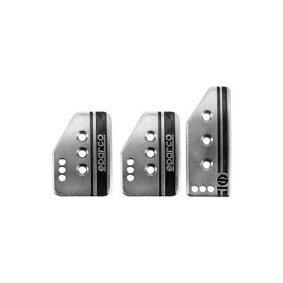 Sparco Settanta Pedal Set – 2 Pedal, Tall Accelerator, Silver