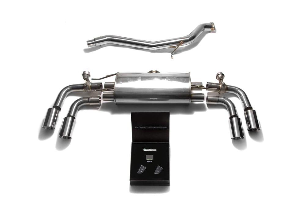 ARMYTRIX Stainless Steel Valvetronic Catback Exhaust System Quad Chrome Silver Tips Audi TT | TTS Quattro MK2 8J 2007-2014