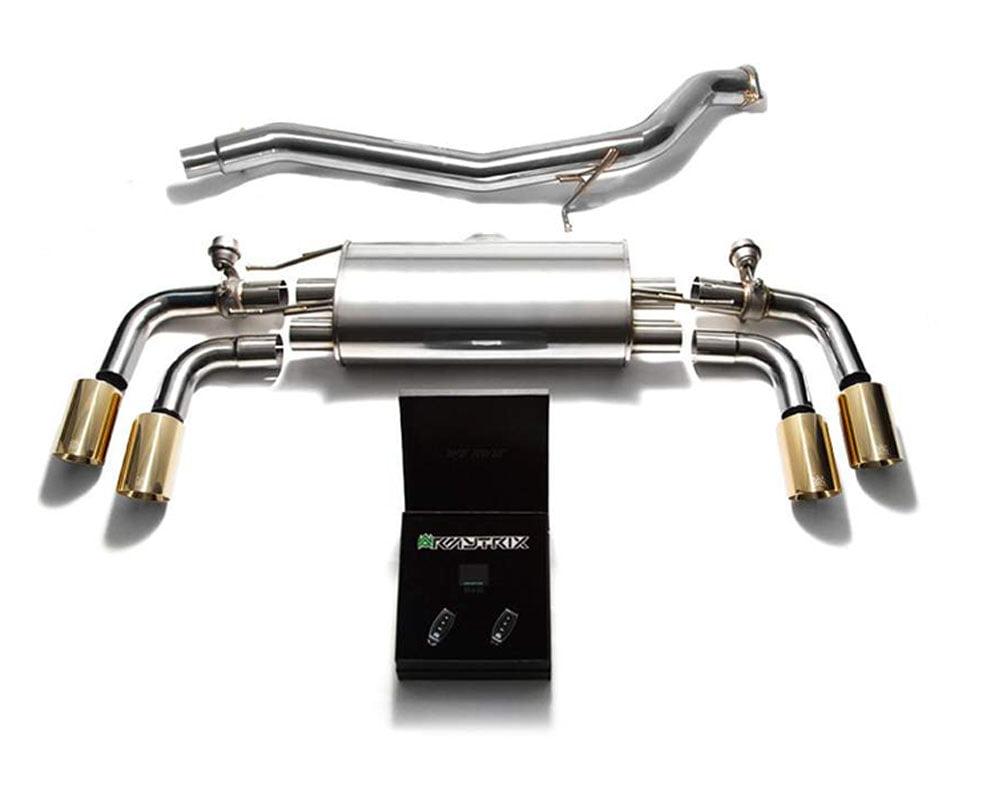 ARMYTRIX Stainless Steel Valvetronic Catback Exhaust System Quad Gold Tips Audi TT | TTS Quattro MK2 8J 2007-2014