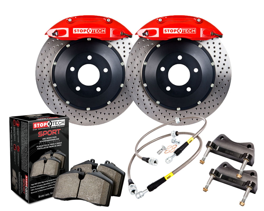 StopTech Big Brake Kit; Black Caliper; Drilled Two-Piece Rotor; Front Audi Front