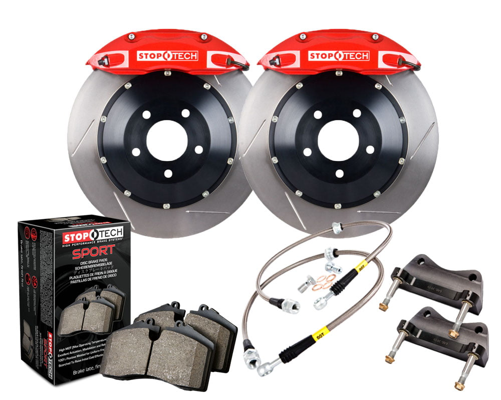 StopTech Big Brake Kit; Black Caliper; Slotted Two-Piece Rotor; Front Audi Front Model #83.100.4300.71